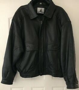Misty Harbor Original Mens Leather Bomber Jacket Size L/Quilted Lining