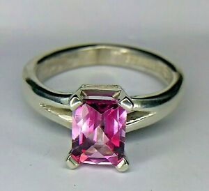Customized Tiffany Co Sterling Silver Emerald Cut Pink Natural Topaz Ring
