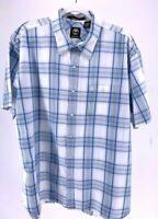 Timberland Mens Button Front Shirt Blue White Plaid Short Sleeves Pocket XL
