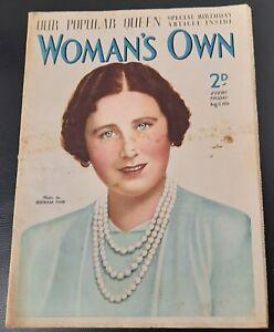 Vintage Woman`s Own magazine Aug 12th 1939 Bertram Park Ursula Bloom Berta Ruck