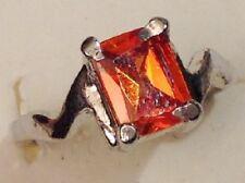 bague bijou couleur argent rhodier panier déco oxyde rectangle orange foncé T.52