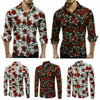 Fashion Slim Men Luxury Long Sleeve Tops Fit Casual Rose Flower Printed Shirts