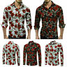 Fashion Slim Men Luxury Long Sleeve Tops Fit Casual Rose Flower Printed Shirts