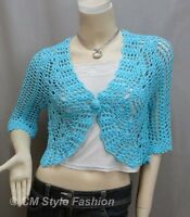 * Crochet Eyelet Scallop Shrug Bolero Cardigan Top Blue S