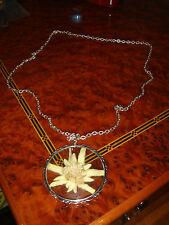 Echte Jugendstil Arts & Crafts Halskette 800 Silber 835 Riesig Edelweiss Glasfas