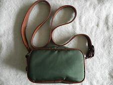 Green Vintage Camera Pouch w/strap Brown Strap and Piping.