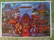 ORIGINAL 1985 MASTERS OF THE UNIVERSE FULL SIZE POSTER HE-MAN & SKELETOR CASTLES