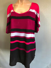 BNWT Ladies Sz 18 NOW Plus Brand Stripe Cap Sleeve Round Neck Stretch Tunic Top