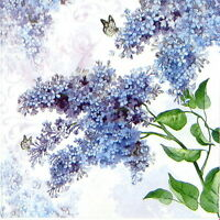 4x Paper Napkins for Decoupage Decopatch Craft Lilac flower