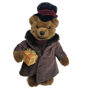 "Vintage Russ Berrie Oliver Teddy Bear Plush 15"" Top Hat Tweed Coat Gift Stand"