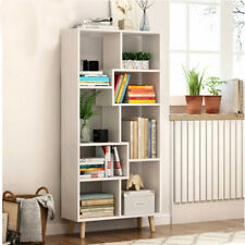 White 4 Tier S Shape Bookshelf  MDF Drawer Storage Unit Bookcase Display Cabinet