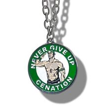 WWE John Cena Never Give Up Pendant Necklace, Wrestling Silver Chain