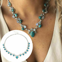 Fashion Flower turquoise personality necklace white Women boho Party jewelry