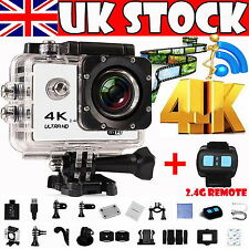 1080P 4K 16MP WIFI Waterproof Sports DV Action Camera + Watch Remote Control UK