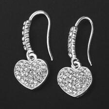 13ed064894e5 Moda Damas Plateado Plata Pendientes del corazón Gota Colgante Mujer  Cristal Perno de gancho