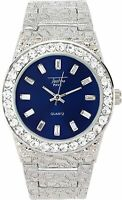 MEN Iced Watch Bling Rapper Simulate Lab Diamond Silver Metal Band Luxury Blue