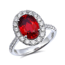 Natural Red Spinel 3.03 carats set in 14K White Gold Ring