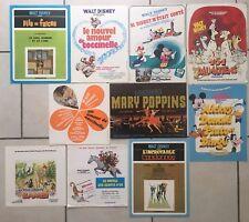 Lot de 10 Synopsis WALT DISNEY - Press-Book Cinéma 70-80's - Mickey Bambi Mary..