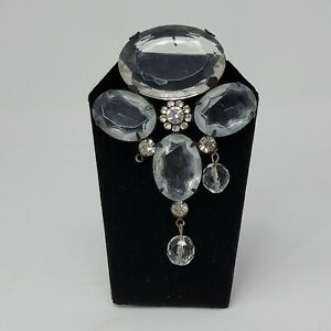 """Vintage Womens Clear Stones Brooch Design Jewelry Accessories 3"""""""
