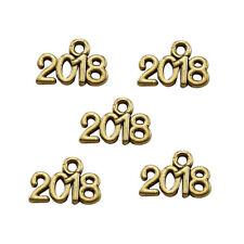 "45pcs 14x10mm Gold Color 3D ""2018"" Year Alloy Pendants Charms Crafts 53414"