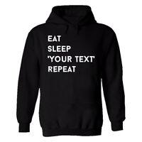 Personalised Mens Top Eat Sleep Your Text Here Repeat Gift Custom Tshirt Hoodie