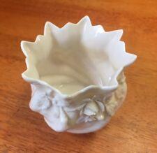 "Belleek  parian china shell twist scallop top 2 1/2"" vase . 3rd green mark ."
