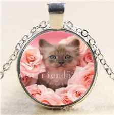 Cat With Pink Rose Cabochon Glass Tibet Silver Chain Pendant Necklace