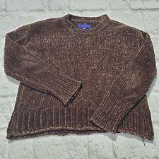 Women's Aeropostale Sweater Brown Long Sleeve Sz M Polyester Crew Neck