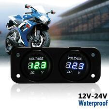 12V/24V Car Boat Motorcycle Dual LED Digital Voltmeter Voltage Meter Waterproof