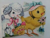 2 Vtg EASTER Little LAMB & CHICK 1950s Childs GREETING CARDS