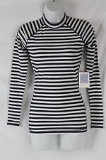 J.Crew $75 Long-Sleeve Striped Rash Guard L Ivory Navy NWT UPF Sun E8420 Swim