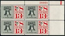 "Scott # C62a 1961 13¢ Liberty Bell Airmail ""TAGGED"" Plate Block Mint NH"
