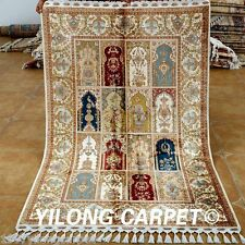 Yilong 4'x6.2' Handmade Silk Rugs Classic Four Seasons Hand Knotted Carpets 1802