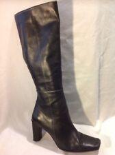 Karen Scott Black Knee High Leather Boots Size 6Uk