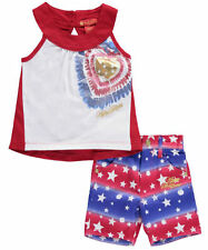 "Apple Bottom Girl's Outfit 2 Pc ""Apple Stars"" Shirt & Shorts Set Size 24 Months"