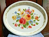 Large Vintage Hand Painted Toleware Metal Floral Rose Flower Serving Tray 25x20