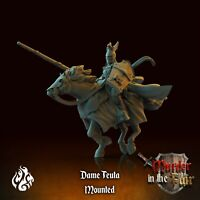 DAME TEUTA MEDIEVAL KNIGHT MOUNTED RIDER SCALE 32mm  DnD ROL WARHAMMER SKYRMISH