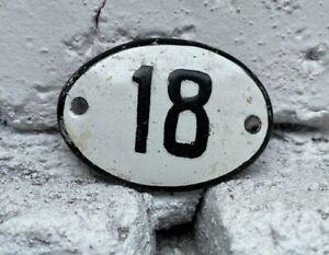 Number 18 Vintage Enamel House Numbers Europe Room Number Hotel Bath SPA