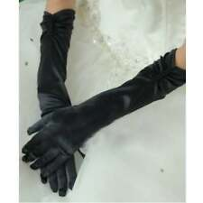 Black Satin & Pearls rouched Elbow Length Gloves Prom Evening One Size Ladies