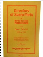 1919 - 1923 Harley-Davidson Directory of Spare Parts Sport Model Issued Aug.1922