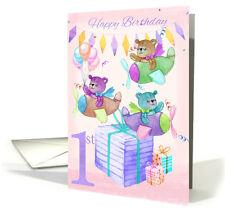 1st Birthday Card Triplets,  Watercolour Teddy Bears