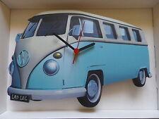 Luz azul pantalla dividida de diseño clásico de Vw Camper Van Reloj De Pared. Nuevo Y Sellado