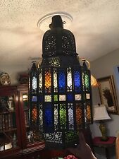 Moroccan Multi Colored Stained Glass Lantern Candle Holder Antique / VTG Brass