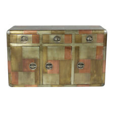 """55"""" L Sideboard Modern Industrial Mixed Metals Grey Copper Brass 3 Drawers"""