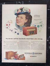 New listing 1945 vintage Original color print ad General Electric Radio Joan Edwards