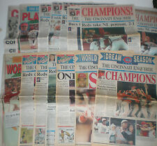2x 1990 GM1 Ticket Stubs w/ NLCS+World Series Newspapers Cincinnati Reds Lot Set