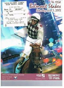FUNNY CIDE 2003 BELMONT STAKES PROGRAM + $2 WIN TICKET AMERICAN PHAROAH GRD SIRE