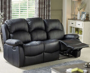 New Faux Leather 3 Seater Recliner Sofa Black Luxury Living Room Sofa Set