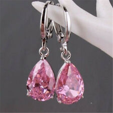 Women's Tear shape Silver pink Cublic Zircon Crystal Stud Hoop Earrings