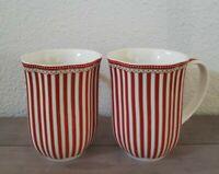 NEW (2) Grace's Teaware RED STRIPE GOLD TRIM Coffee Tea Mugs Home Decor